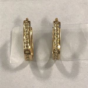 Diamond and 14K gold hoops